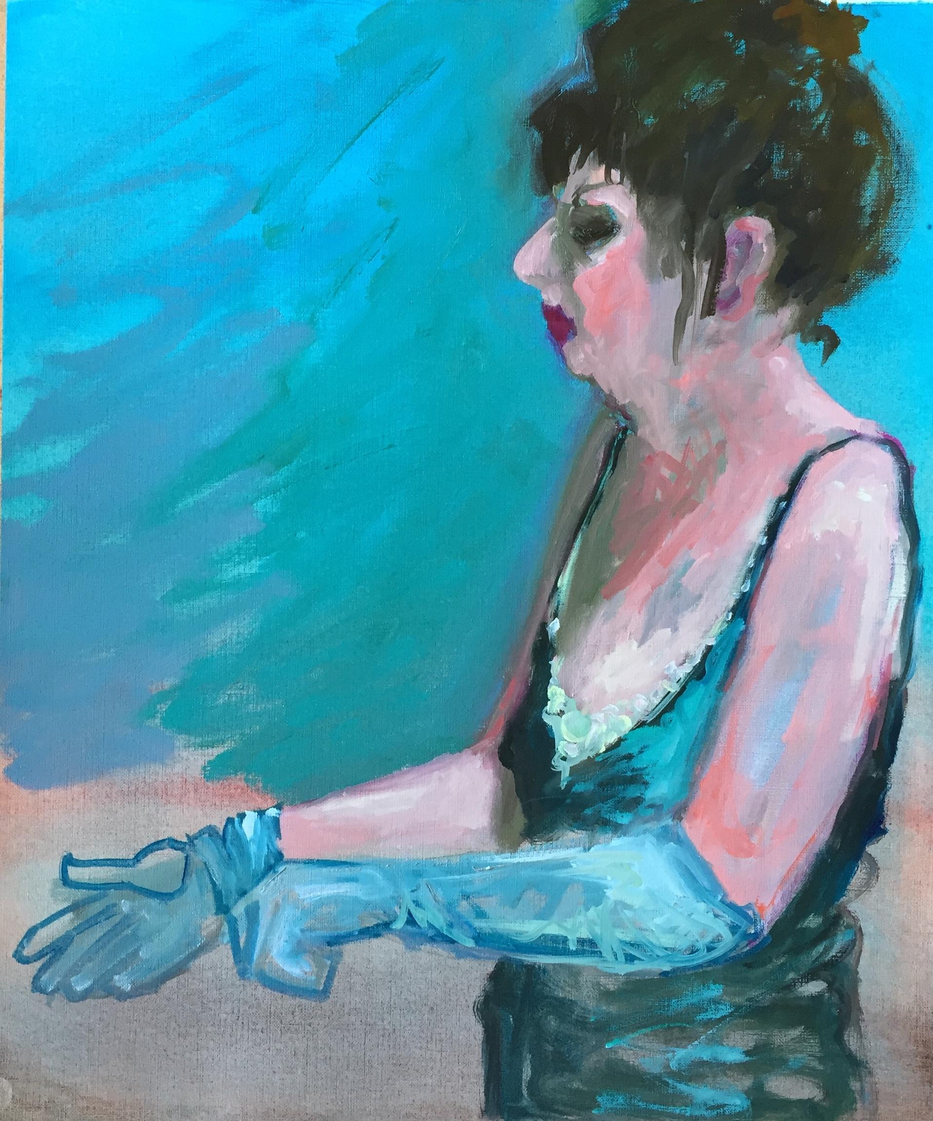 dressing up, model, handschoenen, schilderij