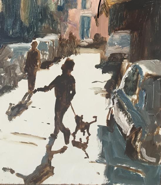 Napels, Napoli, schilderij, jongen met hond