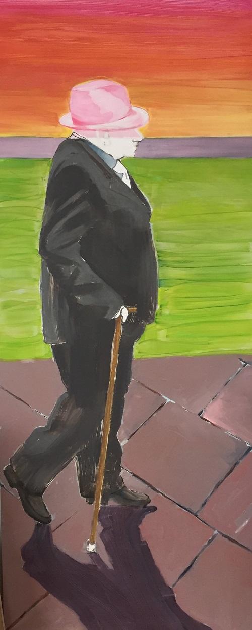 wandelen, oude man, wandelstok en hoed