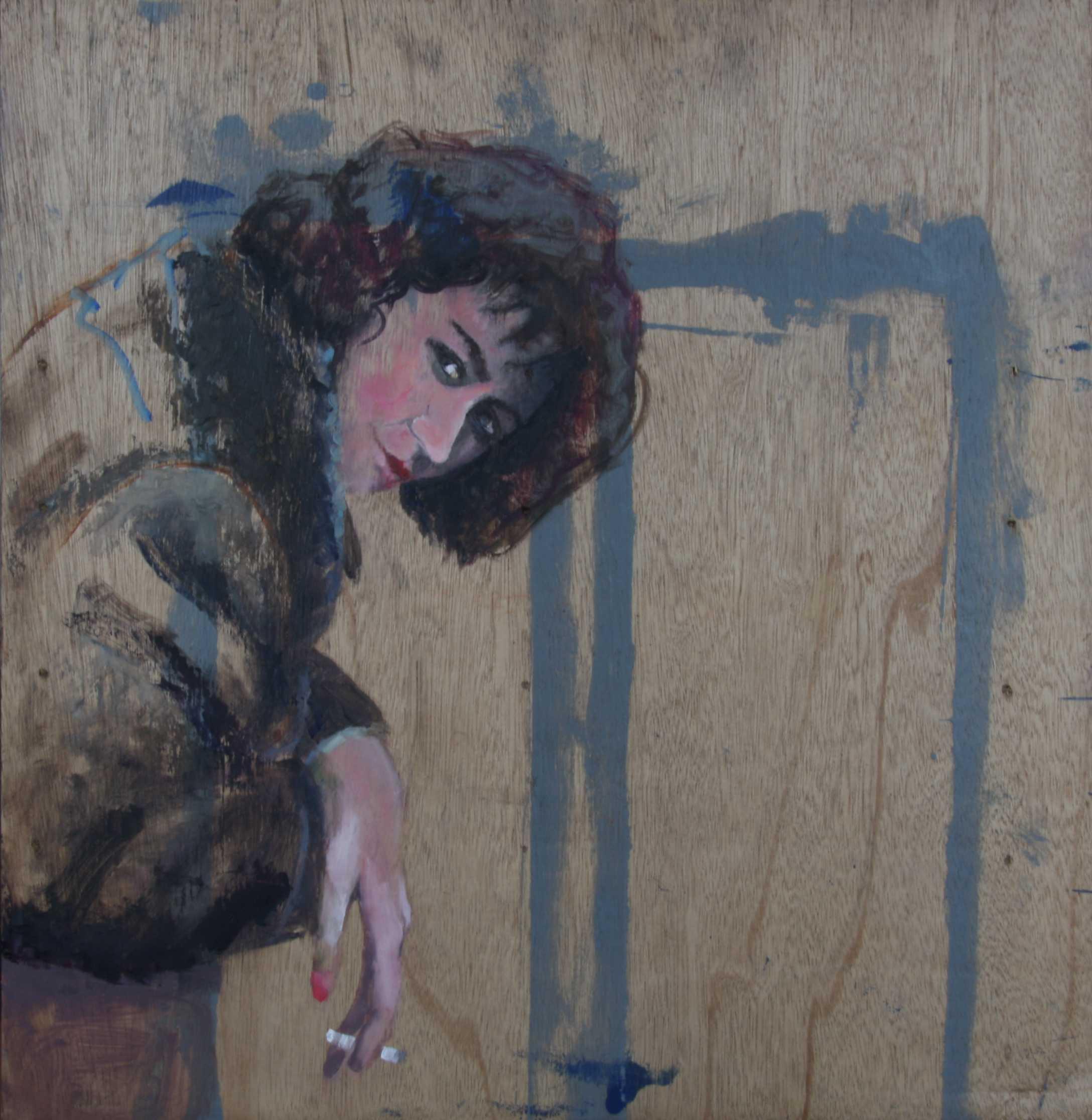 vrouw, houten paneel,